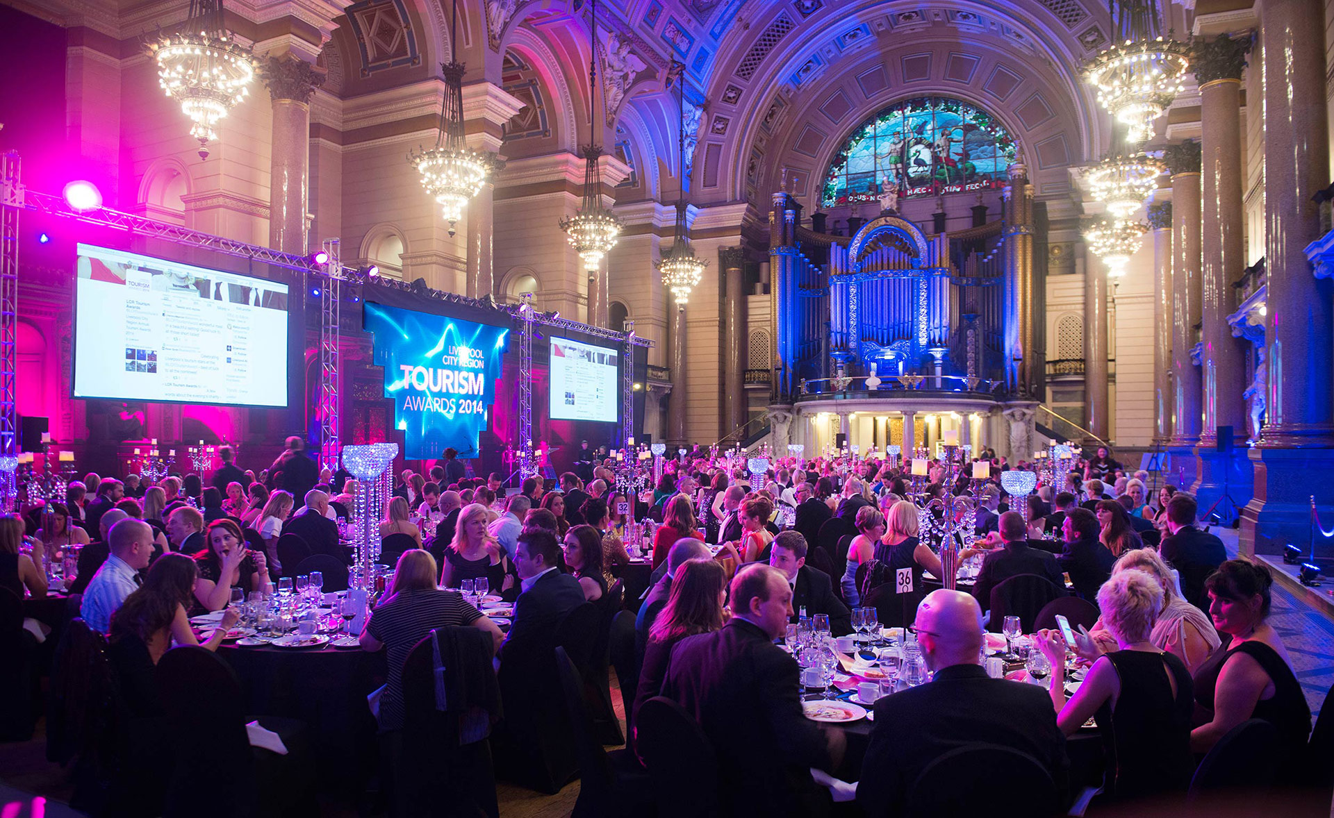 Guests enjoy dinner during annual Tourism Awards event at St George's Hall in Liverpool