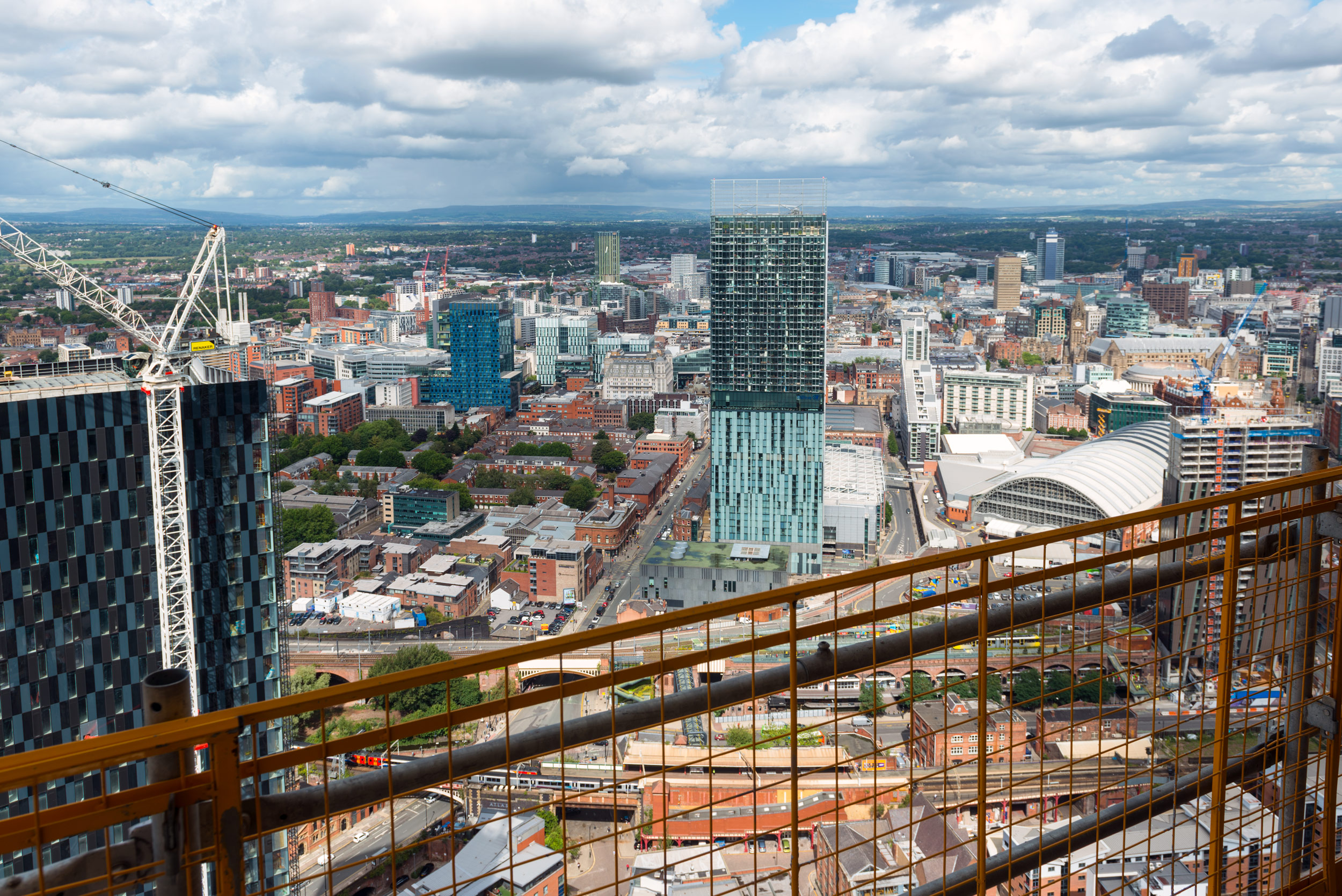 Manchester city centre skyline view from the top of a new skyscraper. Deansgate Square Manchester - photographs from the top floor by manchesterphotographer.com