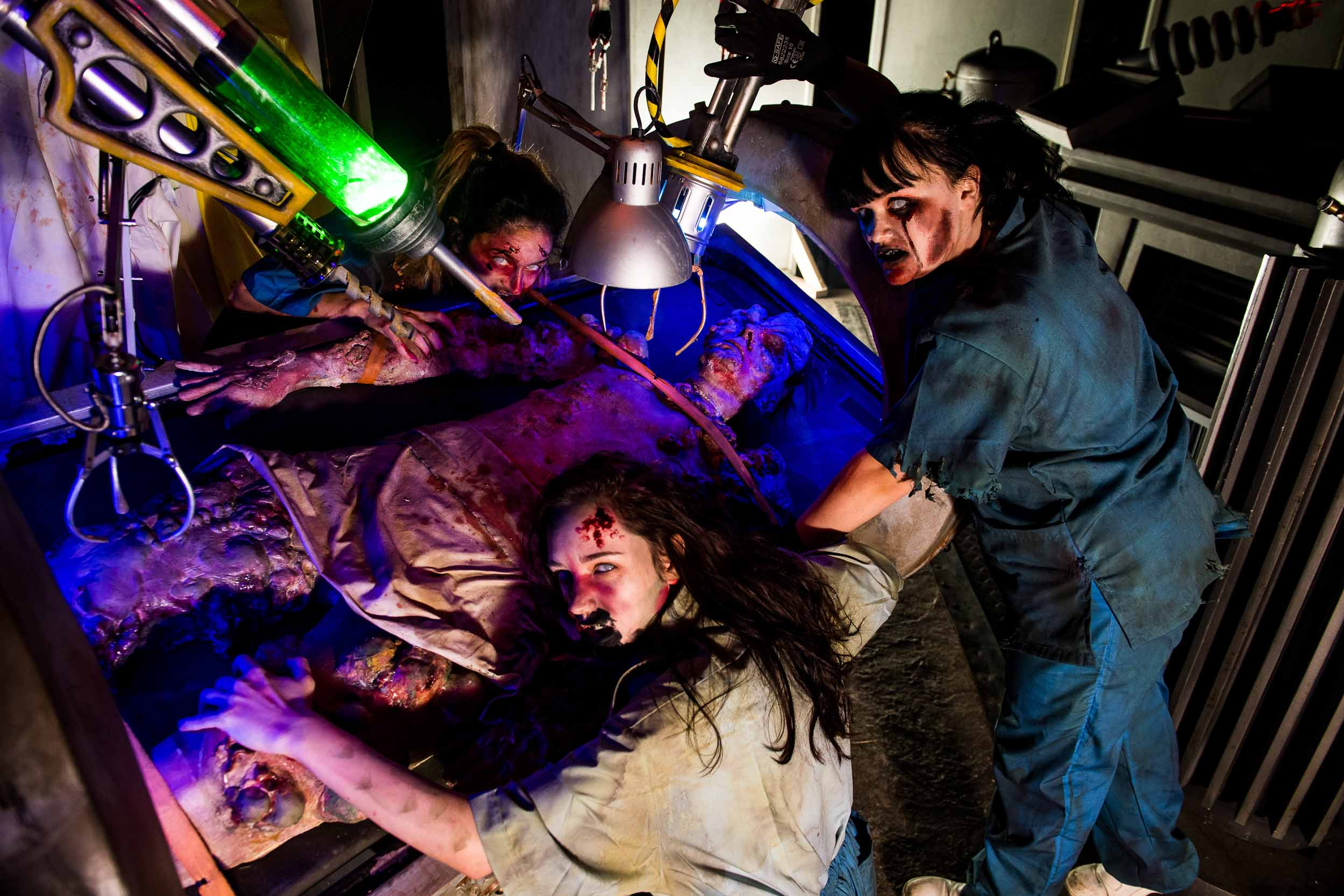 Post-apocalypse zombie nurses eat their patients at Alton Towers Scarefest