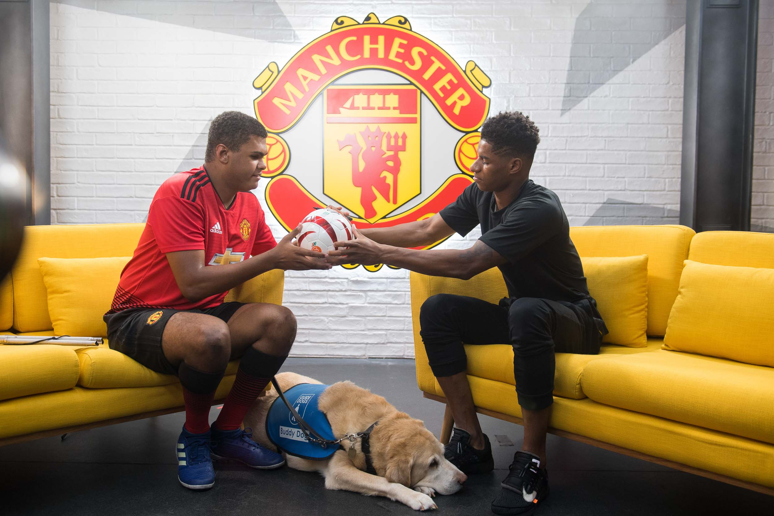 Manchester United Footballer Rashford with Guide Dog Charity