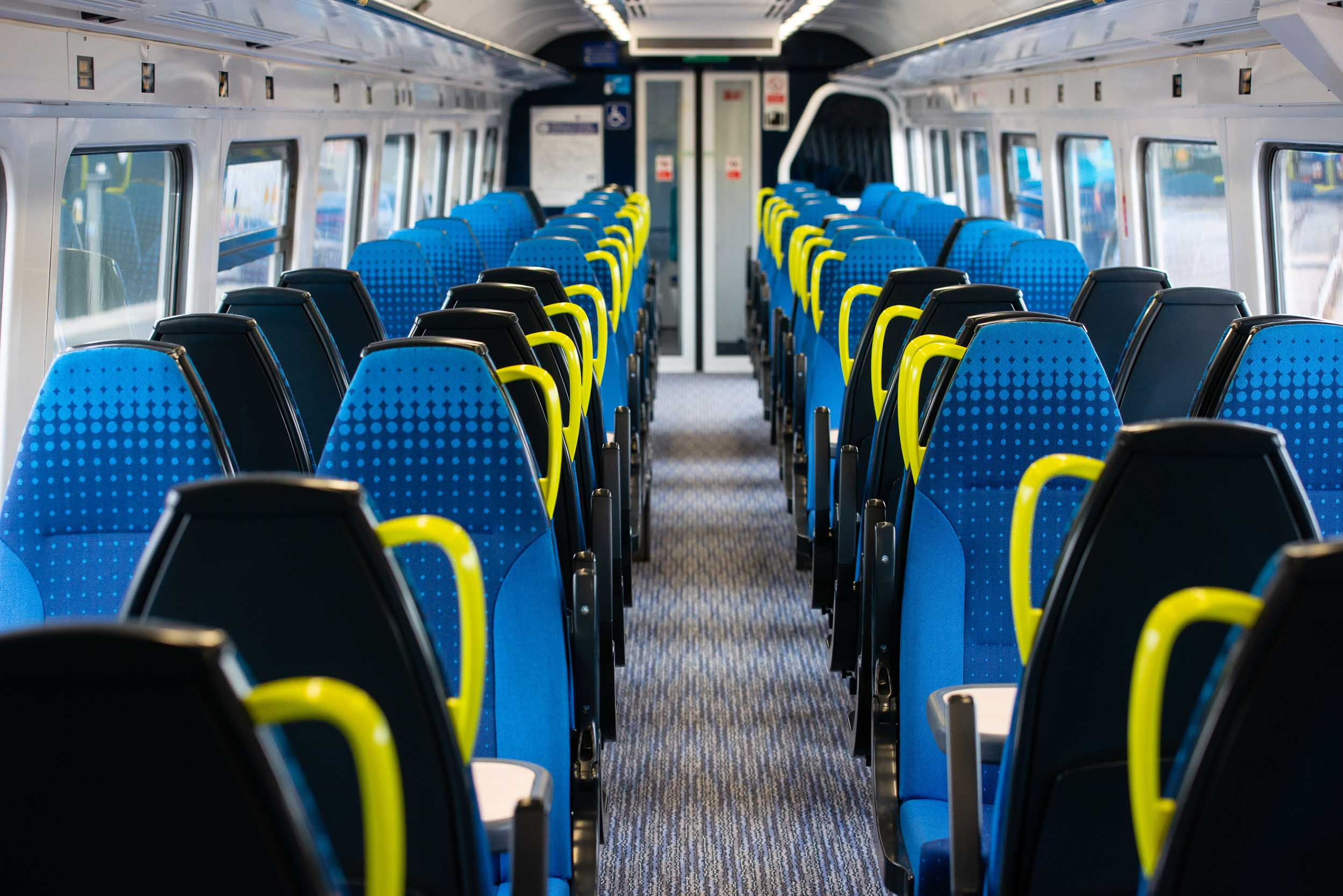 Arrive Northern Rail Corporate photography digital trains. The interior of a newly refurbished Ariva Northern train in England, UK